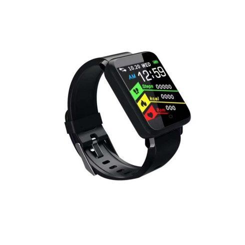 Bluetooth aktivitásmérő színes kijelzővel - fekete, vízálló F1 v2.0