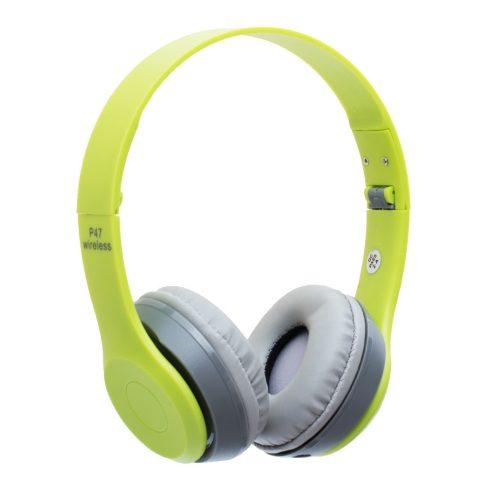 Bluetooth fejhallgató mikrofonal ,rádio fm és SD kártya ,P47 zöld
