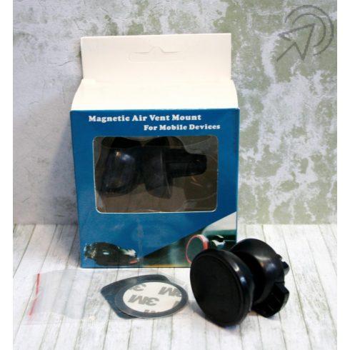 Szellőzőrácsra rögzíthető mágneses telefontartó (fekete)