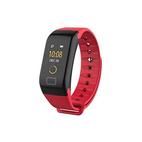 Bluetooth aktivitásmérő színes kijelzővel - piros szíj, vízálló F1C