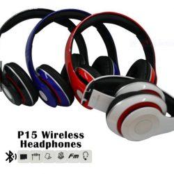 Bluetooth fejhallgató mikrofonal ,rádio fm és SD kártya ,P15 Piros