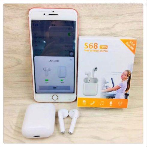 Bluetooth fülhallgató S68 TWS 5.0 fehér érintésérzékeny