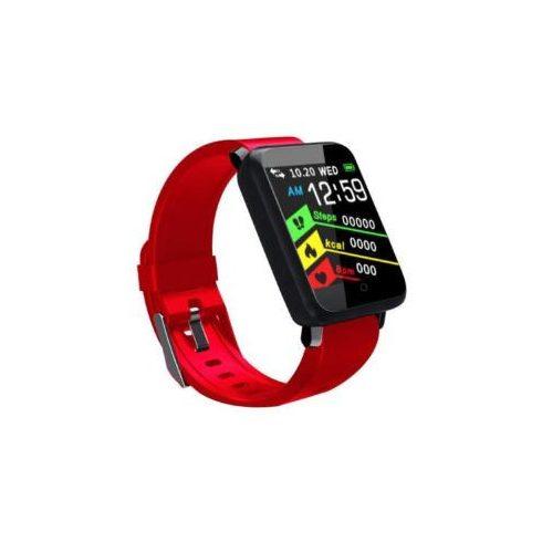 Bluetooth aktivitásmérő színes kijelzővel - piros szíj, vízálló F1 v2.0