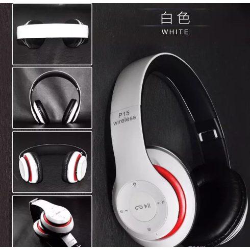 Bluetooth fejhallgató mikrofonal ,rádio fm és SD kártya ,P15 fehér