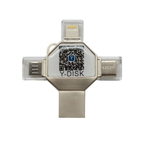 USB Memória Y-Disk 4 az 1-ben, 32 GB, USB 3.0, MicroUSB, Lightning, Type C