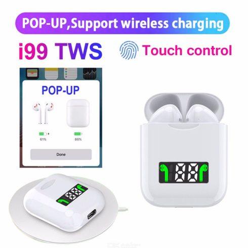 Bluetooth fülhallgató i99 tws v2.0 fehér, érintésérzékeny, LCD kijelzős