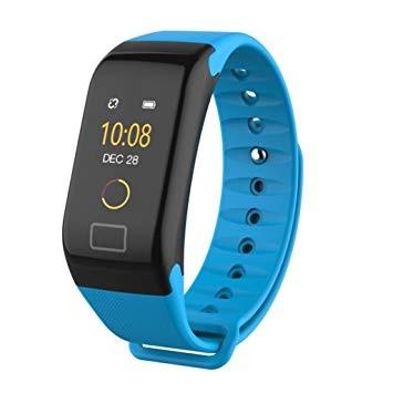 Bluetooth aktivitásmérő színes kijelzővel - kék szíj, vízálló F1C