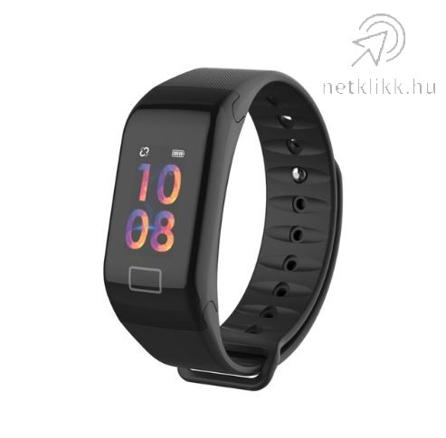 Bluetooth aktivitásmérő színes kijelzővel - fekete, vízálló F1C