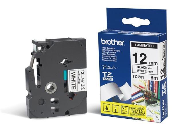 """Feliratozógép szalag, 12 mm x 8 m, BROTHER, """"TZe-231""""fehér-fekete"""